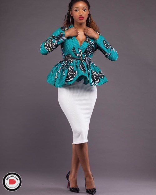 Peplum Skirt and Ankara Blouse Styles peplum skirt and ankara blouse styles - Peplum Skirt and Ankara Blouse Styles 35 - 45 Elegant and Stylish Ways To Rock Your Peplum Skirt and Ankara Blouse Styles