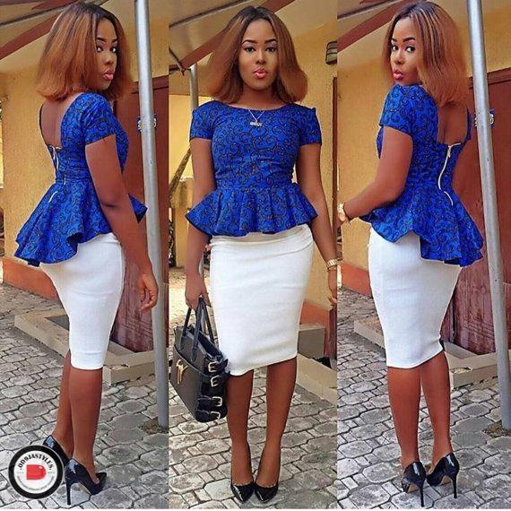 Peplum Skirt and Ankara Blouse Styles peplum skirt and ankara blouse styles - Peplum Skirt and Ankara Blouse Styles 34 - 45 Elegant and Stylish Ways To Rock Your Peplum Skirt and Ankara Blouse Styles