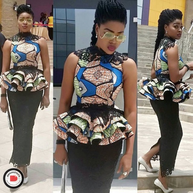 Peplum Skirt and Ankara Blouse Styles peplum skirt and ankara blouse styles - Peplum Skirt and Ankara Blouse Styles 32 640x640 - 45 Elegant and Stylish Ways To Rock Your Peplum Skirt and Ankara Blouse Styles