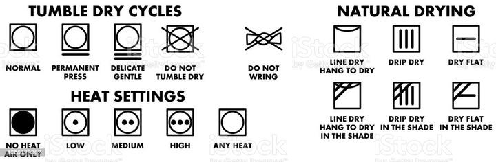 Laundry Washing Symbols Icons For Drying Stock Illustration - Download  Image Now - iStock