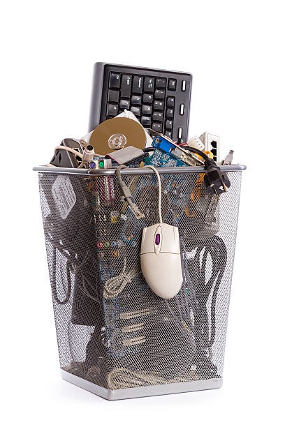 computer trash bin - e waste stock pictures, royalty-free photos & images