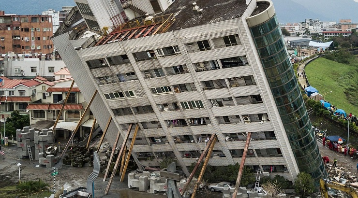 Aftermath of a powerful earthquake.