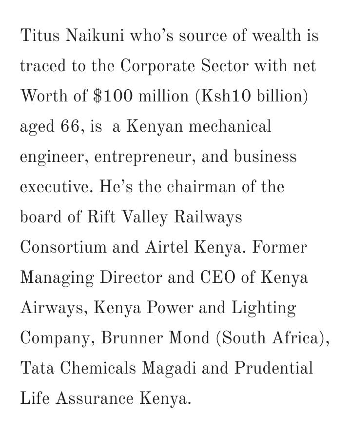 Billionaire Titus Naikuni NetWorth