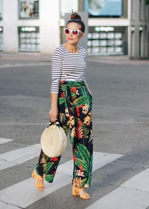 How to style printed pants for rectangle body shapes