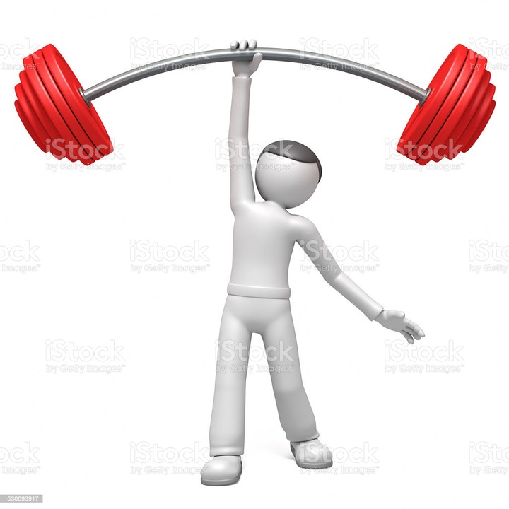 3d Man Lifting Weights Stock Photo - Download Image Now - iStock