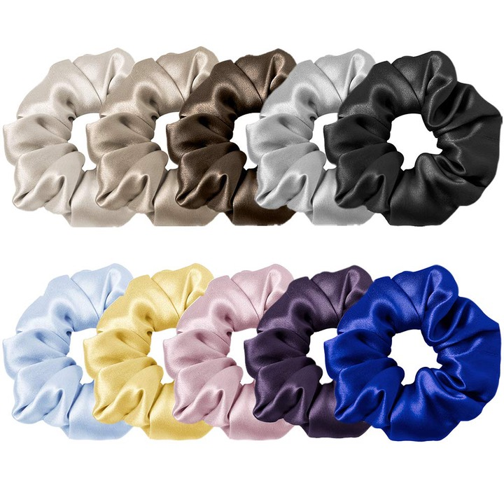 Mommesilk Silk Hair Scrunchies Set of 10 Pieces Ponytail Holder Elastic  Bobbles Hair Ties Band for Women Hair Care 100 Mulberry Silk- Buy Online in  Japan at Desertcart - 167270858.