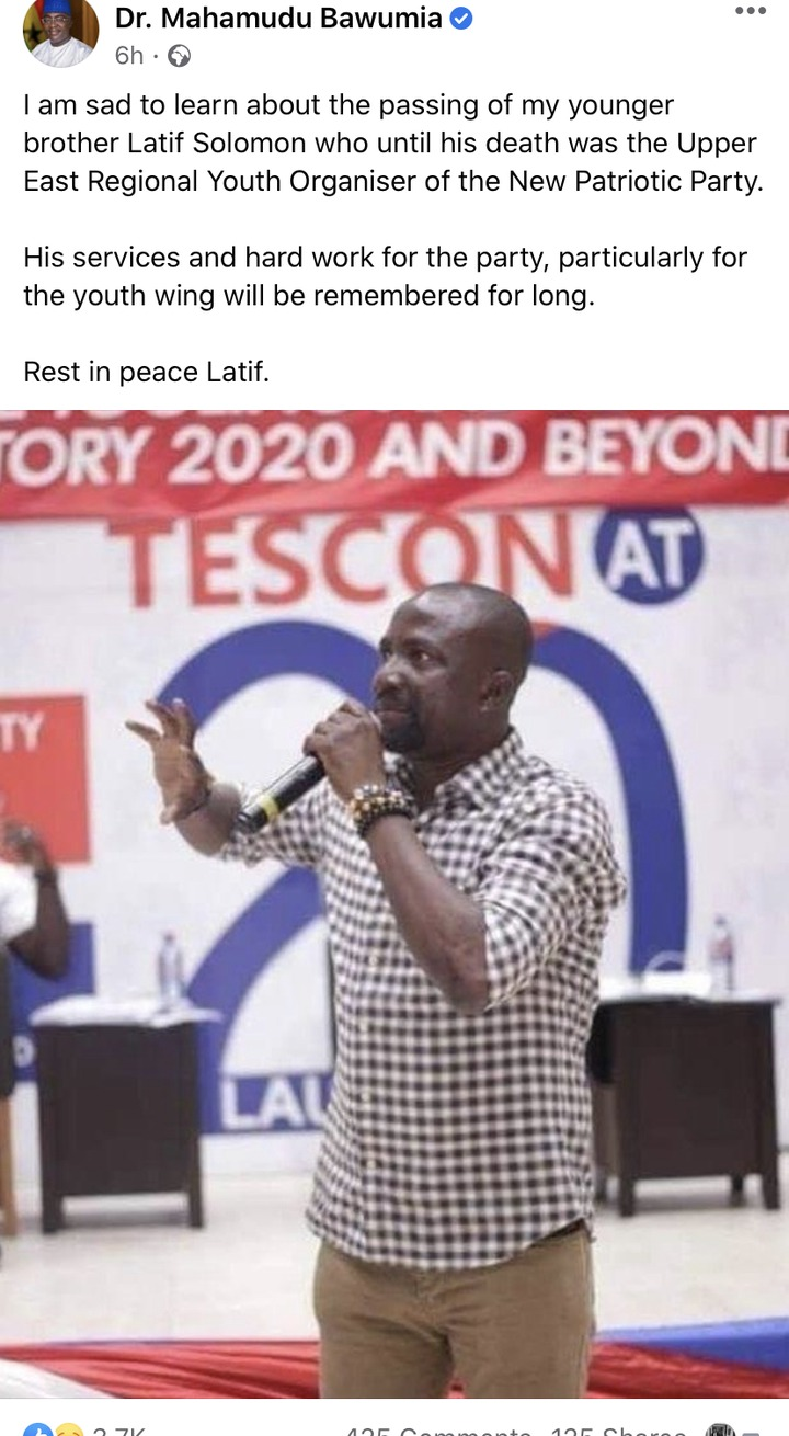 """Sad news as Dr. Bawumia loses """"younger brother"""". 49"""