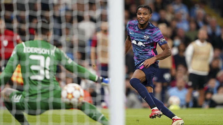 Nkunku announces himself with hat-trick against Manchester City   Marca