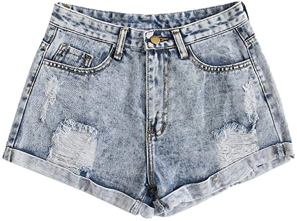 SweatyRocks Women's Retro High Waisted Rolled Denim Jean Shorts with  Pockets at Amazon Women's Clothing store