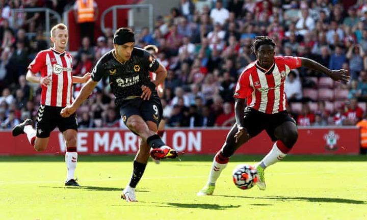 Raúl Jiménez tucks away his goal for Wolves in their victory over Southampton at St Mary's
