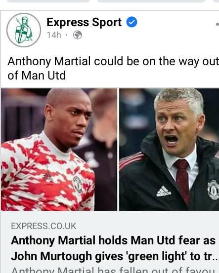 May be an image of 2 people and text that says 'Express Sport 14h・ Anthony Martial could be on on the way out of Man Utd A adidas EXPRESS.CO.UK Anthony Martial holds Man Utd fear as John Murtough gives 'green light' to tr. Martial has fallen out f favou'