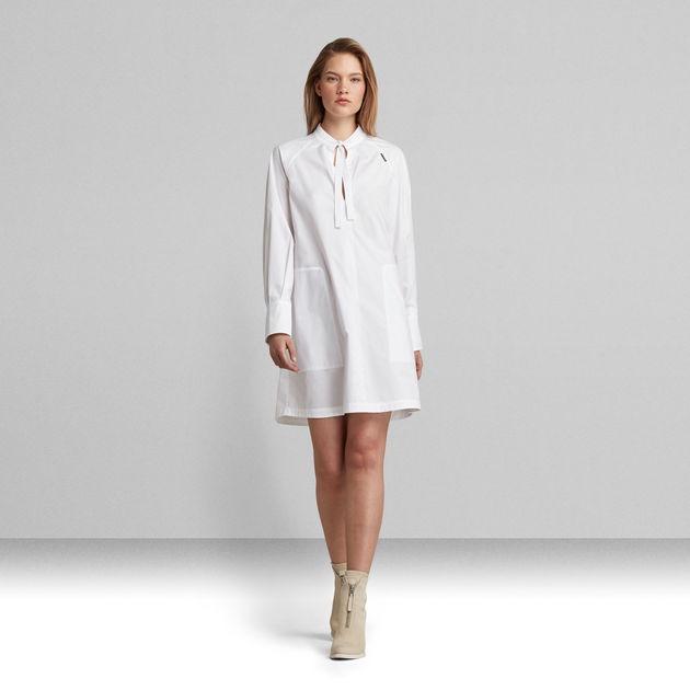 V-Neck Tunic Dress   White   G-Star RAW®
