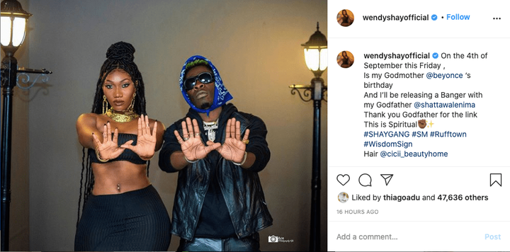 ae8294ef73a2a312eebd34fdeaaee3e9 2?source=nlp&quality=hq&format=jpeg&resize=720 - Beyounce is my Godmother, Shatta Wale is my Godfather and we have a spiritual link - Wendy Shay