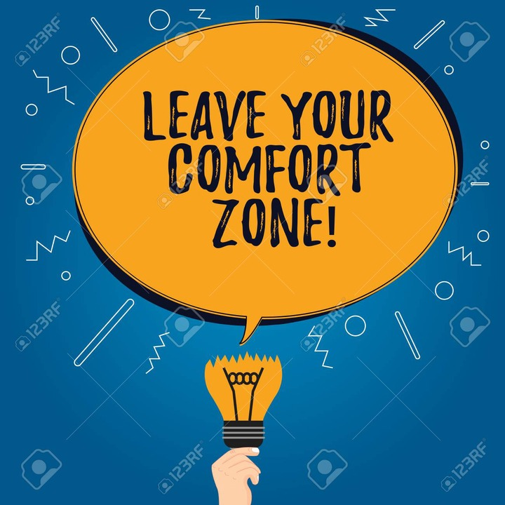 Handwriting Text Leave Your Comfort Zone. Concept Meaning Make Changes  Evolve Grow Take New Opportunities Blank Oval Color Speech Bubble Above A  Broken Bulb With Failed Idea Icon Stock Photo, Picture And