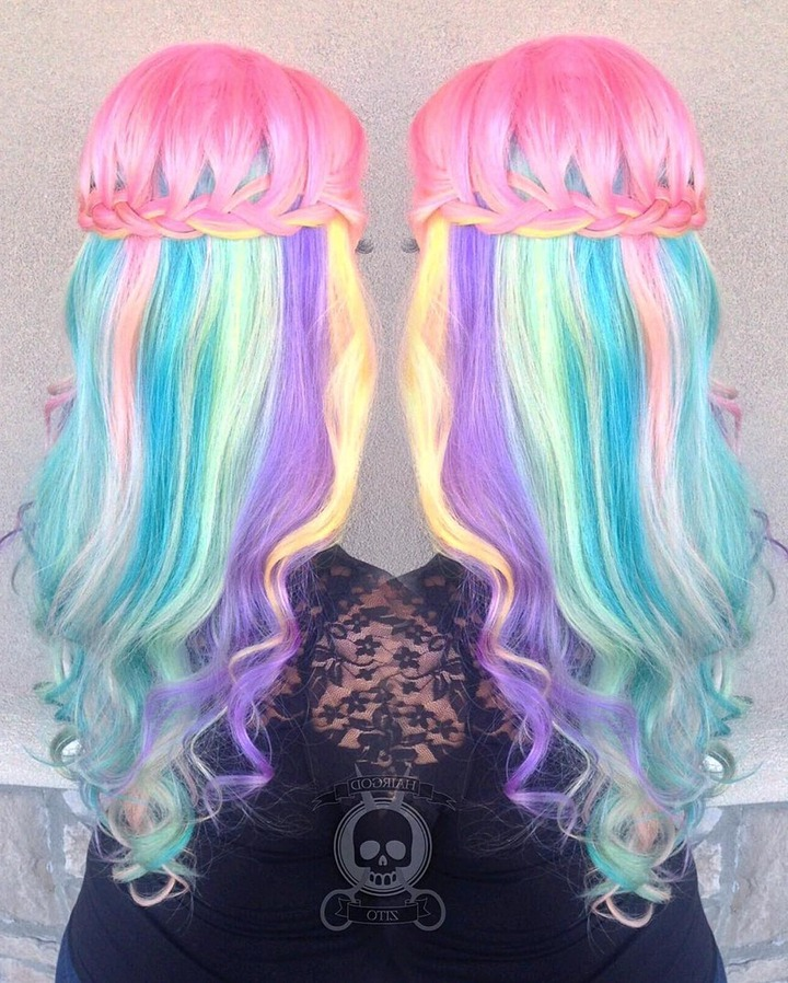 17 Peekaboo Highlights For When You Want A Pop Of Color Throughout Current Cotton Candy Colors Blend Mermaid Braid Hairstyles (View 1 of 20)