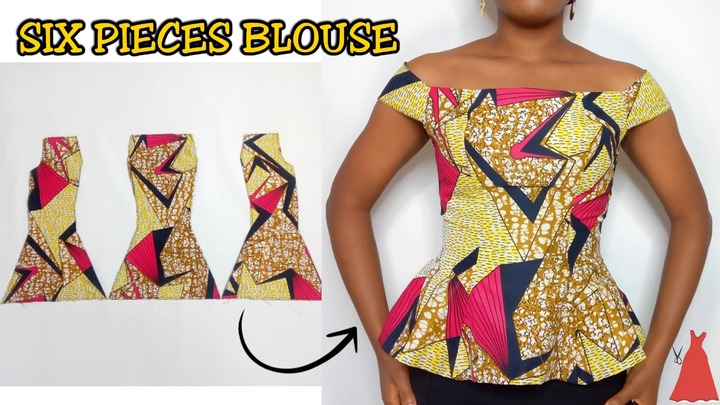 HOW TO CUT AND SEW A SIX PIECES BLOUSE