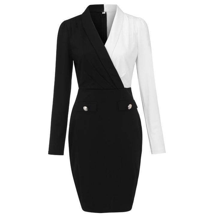 Women Elegant Fashion Office Lady Work Wear Stylish Party Dress Two Tone  Metallic Button Midi Bodycon Dress 2019 Dresses  - AliExpress