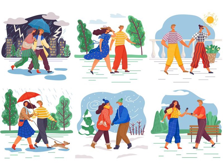 Couples Walking in Different Weather Conditions | Search by Muzli