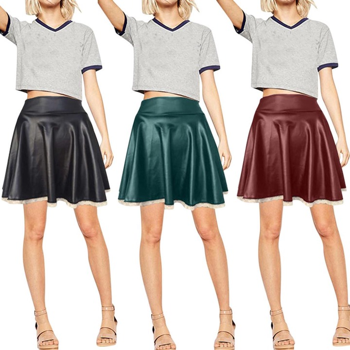 Women Ladies High Waist Skirt Flounce Hem Sexy Lace Hip Leather Short Skirt-buy  at a low prices on Joom e-commerce platform