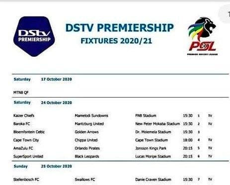 Dstv Premiership Fixtures 2020 21 Swallows Vs Sundowns Sundowns Held Swallows Back On Decouvrez Le Classement Et Les Scores En Live Kumal Iskandar