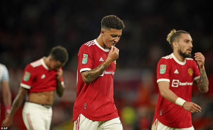 Big-money summer signing Jadon Sancho started for United on Wednesday but struggled to influence proceedings
