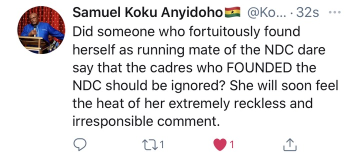 She will soon feel the heat of her extremely reckless and irresponsible comment - Koku Anyidoho. 49