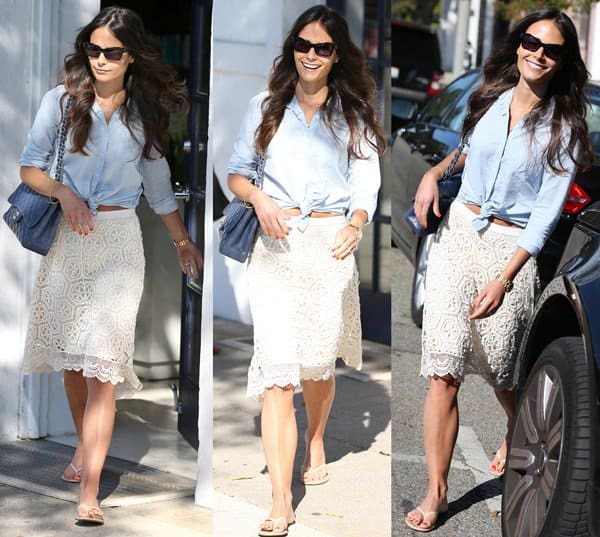 How To Wear White Lace Skirt With Blue Top Like Jordana Brewster