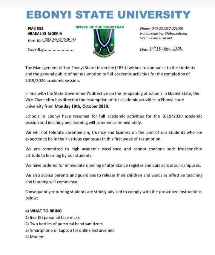 EBSU resumption notice