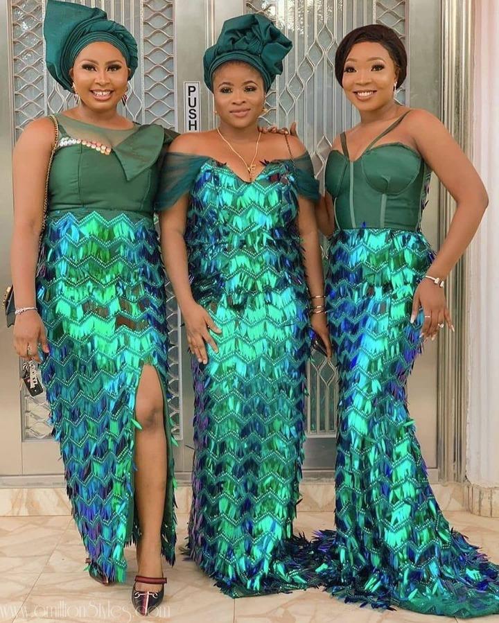 11 Stylish Off-Shoulder Lace Asoebi Styles