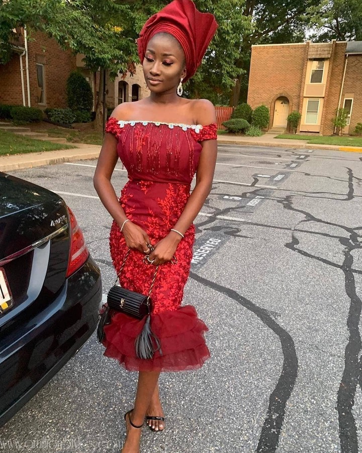 Beauties! Check Out Breathtaking Off-Shoulder Lace Asoebi Styles That You Can Rock
