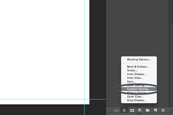 gradient overlay in Photoshop menu