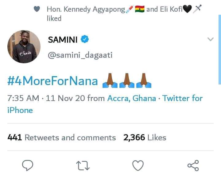 c6b526c00ebeb4bb273245a929f10ee3?quality=hq&format=jpeg&resize=720 - You Can't  Influence Us To Vote For Nana - Angry Fans Descend On Samini After #4MoreForNana Post
