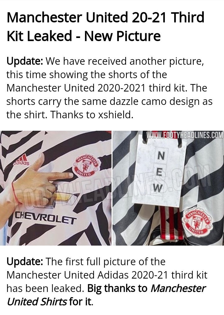 Leaked Man United 3rd Kit Sparks Mixed Feelings Because It Looks Like A Zebra Crossing Photos Opera News