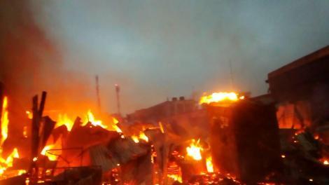 Fire Razing Down Mlolongo Inner Market on Tuesday September 7