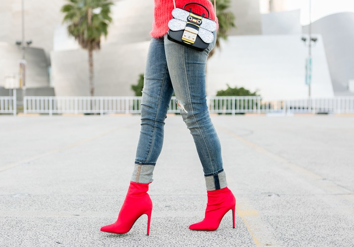 Sydne Style shows the best red booties online in steve madden sock boots    Sydne Style