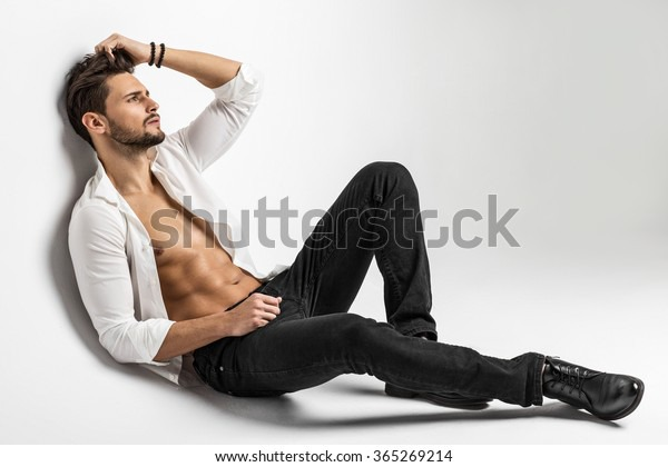 Sexy Undressed Male Model Posing Stock Photo (Edit Now) 365269214