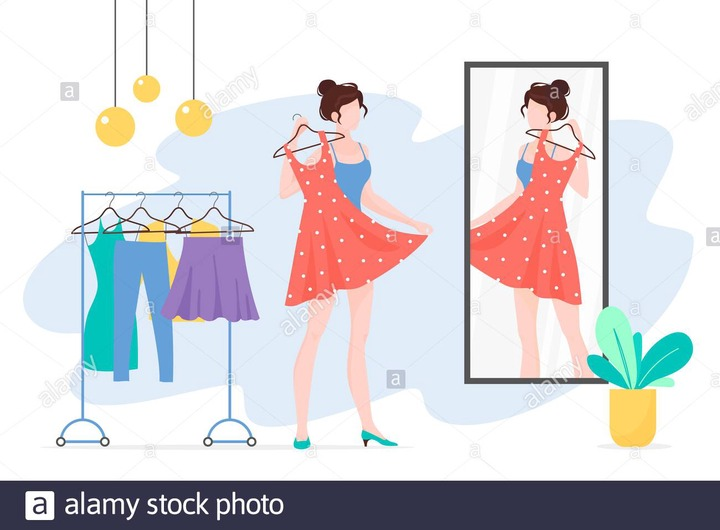 Woman choosing clothes flat vector illustration. Girl with dress looking at  mirror cartoon character. Fashionista lady with stylish outfit. Wardrobe,  apparel, garment. Clothing rack Stock Vector Image & Art - Alamy