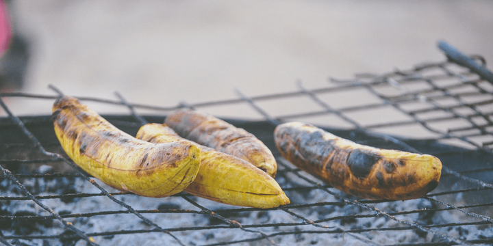 Roasted plantains are very popular in Ghana.