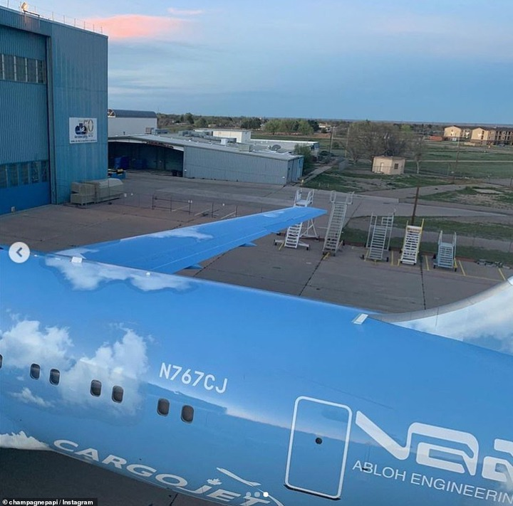 Design:The american designer remodelled the jet with a blue sky background dotted with fluffy white clouds, with the design a nod to the cover art of Drake's 2013 album Nothing Was the Same