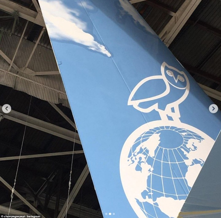 Making his mark:While the outside of the aircraft was emblazoned with the OVO owl symbol and 'ABLOH ENGINEERING', along with the moniker 'Air Drake'