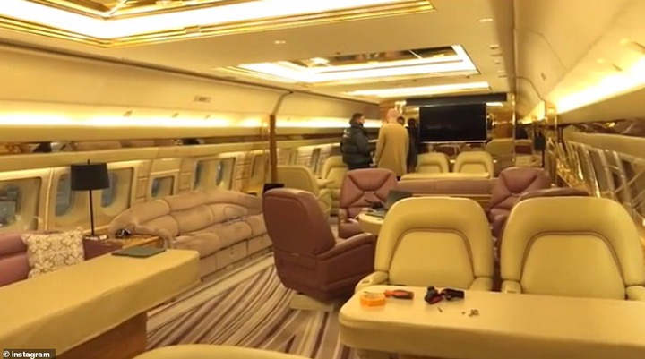Luxury:the Hotline Bling hitmaker previously gave fans a tour of his jet on Instagram, showing off the plane's plush interior featuring luxury gold and brown sofas adorned with gold walls