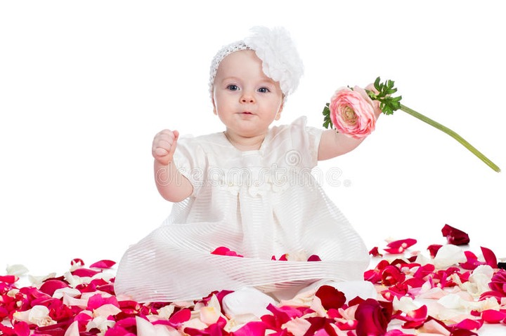 Cute baby girl with flower stock image. Image of beautiful - 31742651