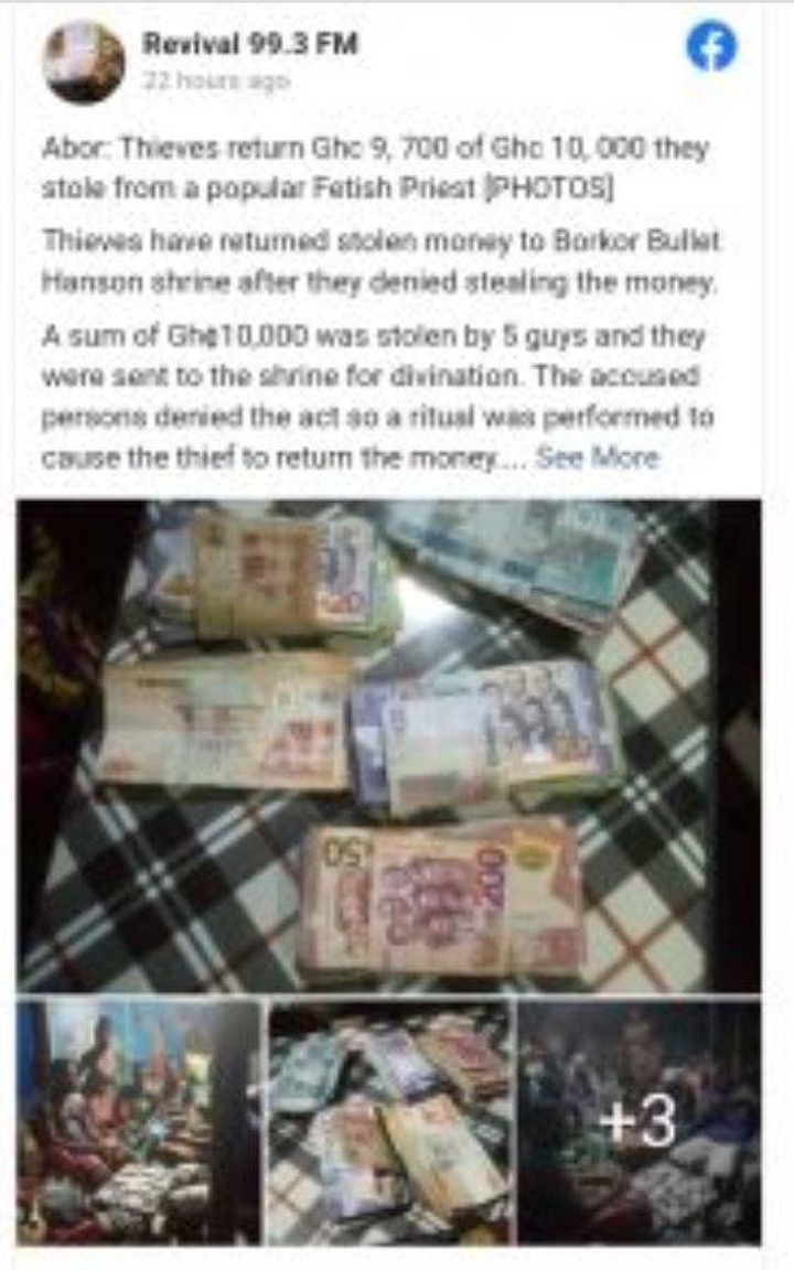 Robbers return Gh¢9,700 out of Gh¢10K stolen cash to Volta region shrine while crying for mercy