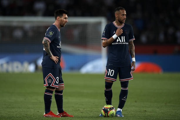 Leo Messi and Neymar of PSG during the Ligue 1 Uber Eats match between Paris Saint Germain and Lyon at Parc des Princes on September 19, 2021 in...