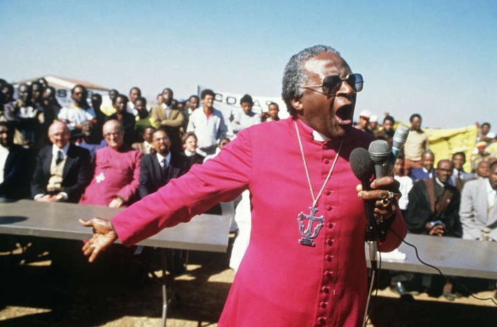 July 10, 1985: Tutu speaking at the funerals of four young anti-apartheid activists killed by hand grenades