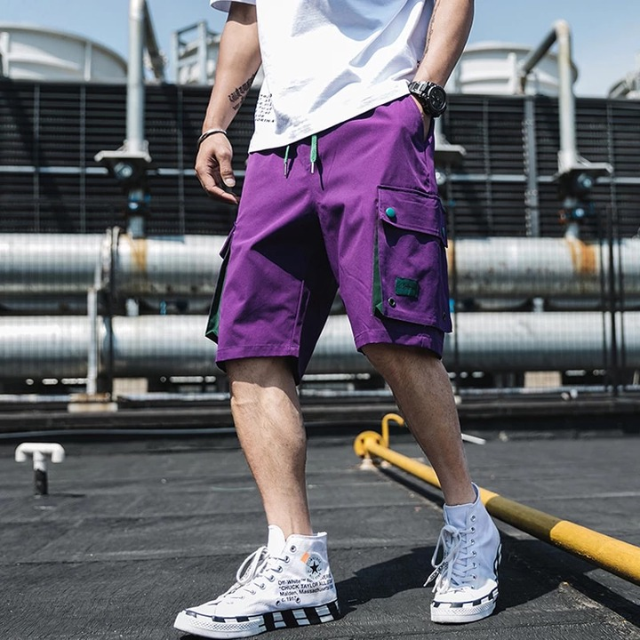 2019 Summer Style Men Hip Hop Shorts Streetwear Mens Vintage Joggers Shorts  Male Big Pockets Purple Shorts ABZ423|Casual Shorts| - AliExpress