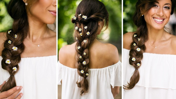 Cute Girls Hairstyles Within Recent Braids And Flowers Hairstyles (View 4 of 15)