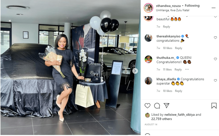 Sthandwa Nzuza Instagram post comments