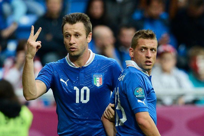 Antonio Cassano (left) isn't a fan of Cristiano Ronaldo.