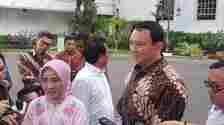 Komisaris Utama Pertamina Basuki Tjahaja Purnama alias Ahok usai bertemu Presiden Joko Widodo di Istana Kepresidenan, Jakarta, Senin (9/10/2019).